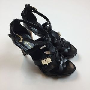 Cole Haan Nike Air High Heel Shoes Black Leather 6